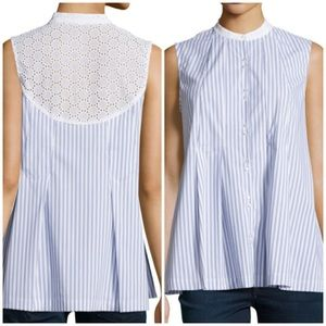 Nanette Lepore Striped Pleated Top W/ Eyelet Trim